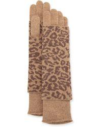 Portolano Cashmere-Blend Animal Print Glove animal - Lyst