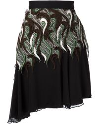 Rodarte Crochet Panel Chiffon Skirt green - Lyst