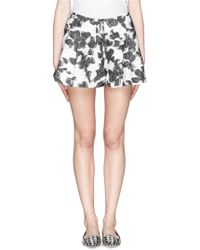 Thakoon Floral Embroidery Silk Blend Pleat Shorts - Lyst