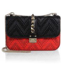 Valentino Rockstud Lock Medium Two-Tone Beaded Leather Shoulder Bag - Lyst