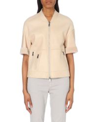 Brunello Cucinelli Reversible Cropped Shearling Jacket - For Women - Lyst
