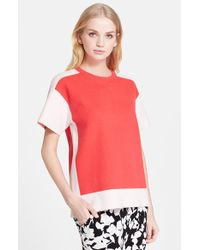 Kate Spade Color-Blocked Short-Sleeved Sweater red - Lyst