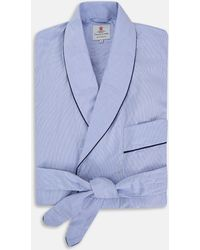 Turnbull & Asser | Blue Fine Bengal Stripe Piped Cotton Gown | Lyst