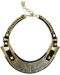 BCBGMAXAZRIA Faux Leather Filigree Plate Necklace - Lyst
