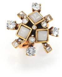 Oscar de la Renta Flower Cocktail Ring gold - Lyst
