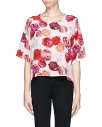 MSGM Makeup Rose Print Silk Top - Lyst