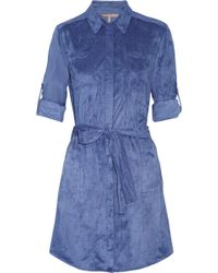 Halston Heritage Belted Faux Suede Mini Dress blue - Lyst