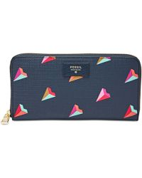 Fossil | Valentines Day Hearts Zip Clutch Wallet | Lyst
