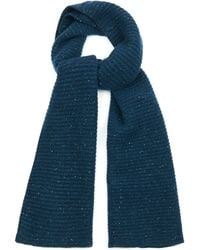 Raey Chunky Ribbed-Knit Donegal-Wool Scarf - Blue