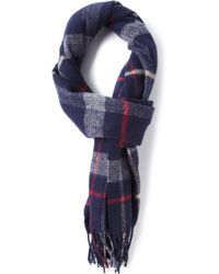 Mr Start Blue Check Lambswool Scarf - Lyst