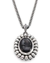 King Baby Studio Skull & Onyx Pendant Necklace silver - Lyst