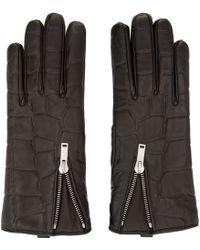 Alexander McQueen - Black Croc_embossed Leather Gloves - Lyst