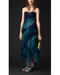 Burberry Bustier Tulle Dress blue - Lyst