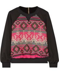 MILLY - Jacquard-Paneled Jersey Sweatshirt - Lyst