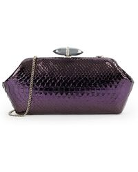 Judith Leiber Whitman Python Chained Clutch - Lyst
