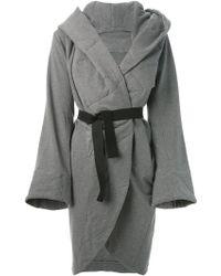Norma Kamali Oversized Belted Coat - Lyst