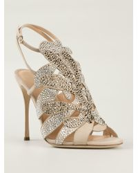 Sergio Rossi Embellished Stiletto Sandals - Lyst