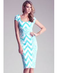 Bebe Tribal Print Midi Dress - Lyst