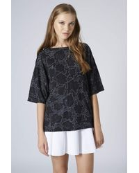 Topshop Womens Rose Print Puff Tee Black - Lyst
