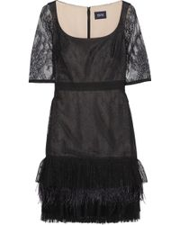 Notte By Marchesa Feather-Trimmed Lace Dress - Lyst