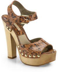Michael Kors Annabell Studded Snakeskin Platform Sandals brown - Lyst
