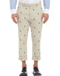 Wooster Lardini Embroidered Face Drop-Rise Trousers - Lyst