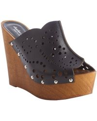 Charles By Charles David Black Leather Wooden Wedge Xena Sandals - Lyst