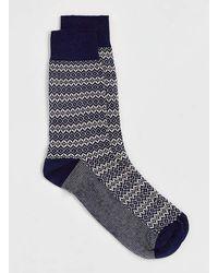 Topman Navy Fairisle Printed Socks - Lyst