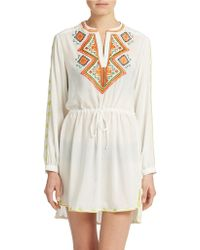 Shoshanna Embroidered Tank Dress - Lyst