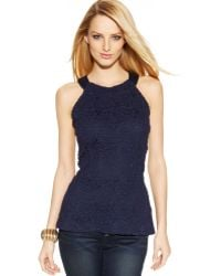 Inc International Concepts Lace Peplum Halter Top - Lyst