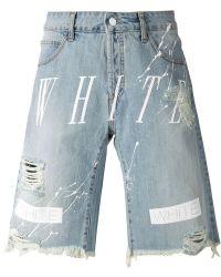 Off-white c/o virgil abloh Striped Distressed Denim Shorts in Blue ...