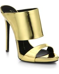 Giuseppe Zanotti Metallic Leather Mule Sandals - Lyst