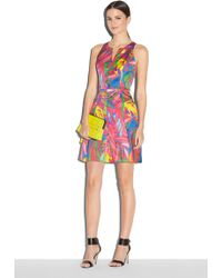 Milly Feathers Print Racerback Dress multicolor - Lyst