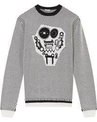 Kenzo Herringbone with Monster Face Sweater - Lyst