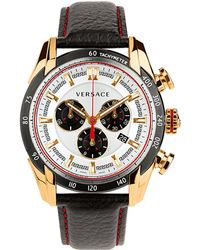 Versace Mens Vray Goldtone Black Chronograph Watch - Lyst