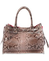 Zagliani Small Gatsby Stained Python Tote Bag - Lyst