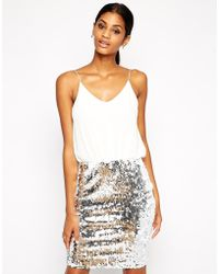 TFNC Cami Bodycon Dress With Sequin Skirt - Lyst