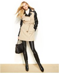 Michael Kors Michael Mixedmedia Hooded Trench Coat - Lyst