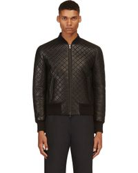 Neil Barrett Black Quilted Leather Bomber Jacket - Lyst