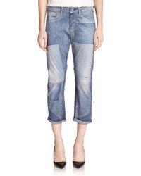 AG Adriano Goldschmied Drew Digital Luxe Patchwork Boyfriend Jeans - Lyst