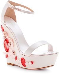 Giambattista Valli Embellished Satin Wedge Sandals - Lyst