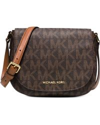 Michael Kors Michael Signature Bedford Medium Flap Messenger - Lyst