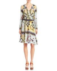 Etro | Printed Silk Wrap Dress | Lyst