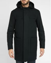 Sandro | Black Redesigned Wool Cloth Duffle Coat | Lyst