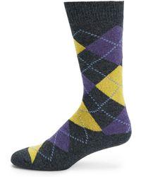 Saks Fifth Avenue Black Label Argyle Cashmere-Blend Mid-Calf Socks - Lyst