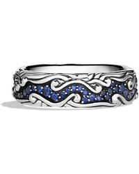 David Yurman Waves Narrow Band Ring with Blue Sapphires - Lyst