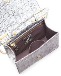B Brian Atwood Ava Metallic Crocprint Shoulder Bag Silver - Lyst