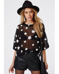 Missguided Star Embroidered Oversized T-shirt Black - Lyst