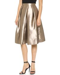 Tibi Full Skirt Gold - Lyst