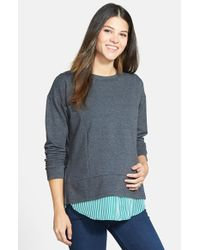 Loyal Hana - 'alex' Layered Look Maternity/nursing Sweatshirt - Lyst